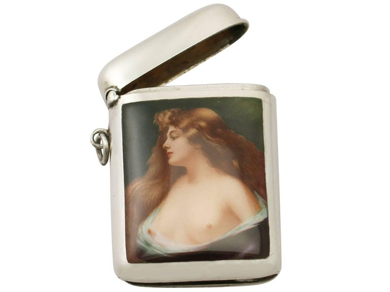Early 20th Century Antique Austrian Sterling Silver and Enamel Vesta Case For Sale