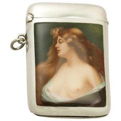 Antique Austrian Sterling Silver and Enamel Vesta Case