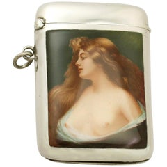 Antique Austrian Sterling Silver and Enamel Vesta Case