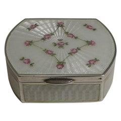 Antique Austrian Sterling Silver and Guilloche Enamel Pill Box, circa 1900