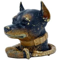 Antique Austrian Vienna Bronze Dog Inkwell, circa 1900