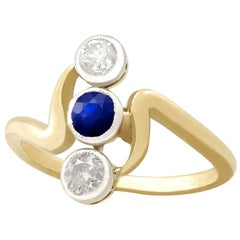 Antique Austro-Hungarian Sapphire and Diamond Yellow Gold Dress Ring