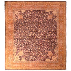 Antique Axminster Style Rug, Hand Knotted Wool, Beige Orange and Blue Floral