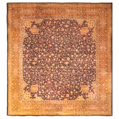 Antique Axminster Transitional Blue and Golden-Brown Wool Rug