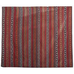 Antique Azerbaijan Jajim, Orange Red Striped Flat-Weave Rug