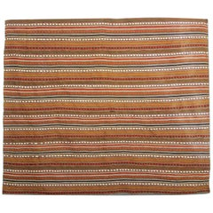 Antique Azerbaijan 'Jajim' Red Striped Handmade Flat-Woven Textile