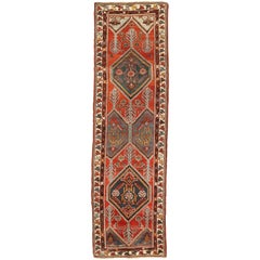 Antique Azerbaijan Runner Rug with Red and Black Tribal Details