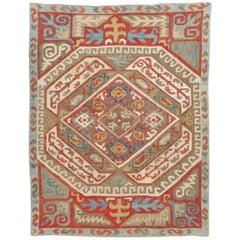 Antique Azerbaijan Silk Kaitag Embroidery Textile. Size: 4 ft x 5 ft 4 in