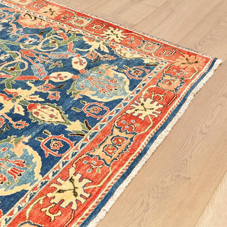 Antique Azeri Arts & Crafts Turkey Hand Knotted Large Rug, 1980 For Sale 7