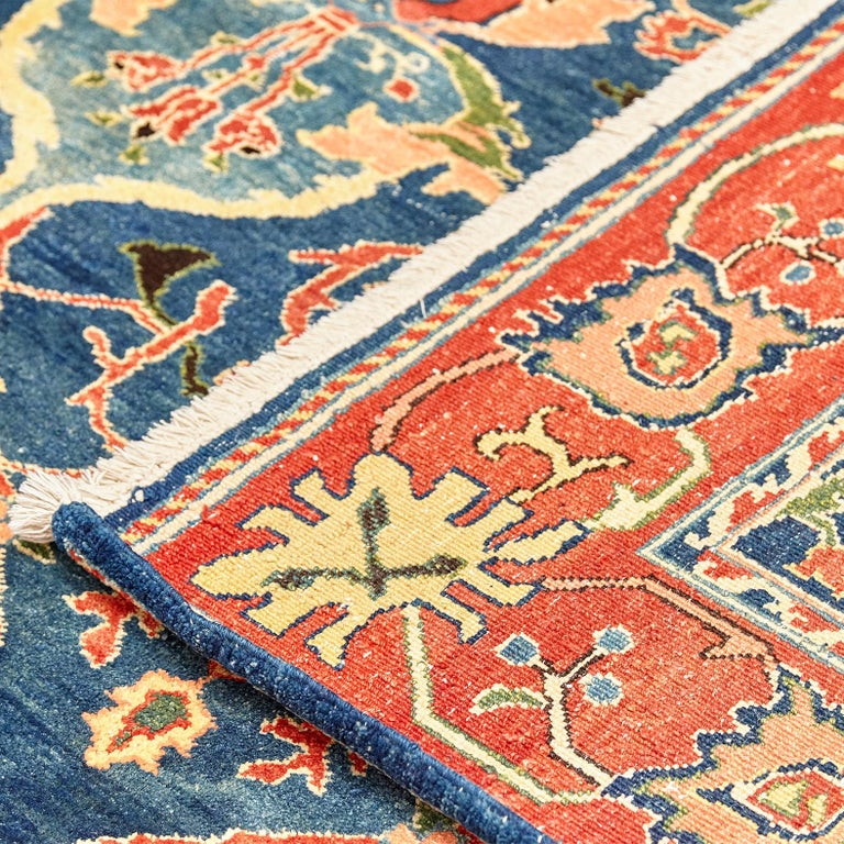 Antique Azeri Arts & Crafts Turkey Hand Knotted Large Rug, 1980 For Sale 9