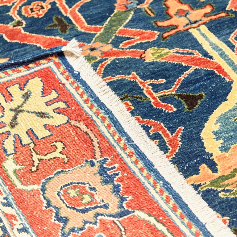 Antique Azeri Arts & Crafts Turkey Hand Knotted Large Rug, 1980 For Sale 10
