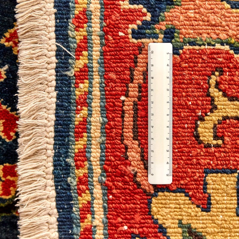 Antique Azeri Arts & Crafts Turkey Hand Knotted Large Rug, 1980 For Sale 11