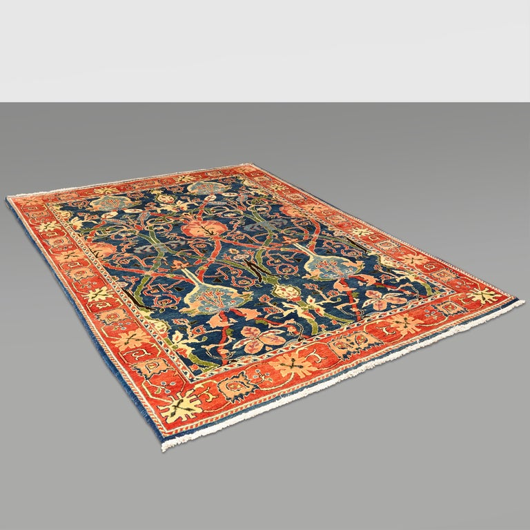 Antique Azeri Arts & Crafts Turkey Hand Knotted Large Rug, 1980 For Sale 12