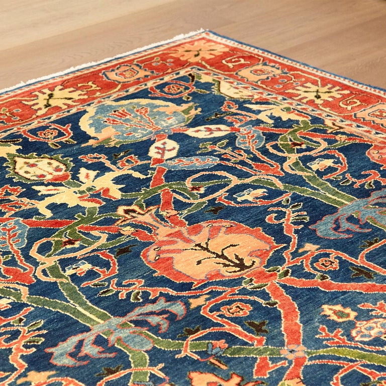 Turkish Antique Azeri Arts & Crafts Turkey Hand Knotted Large Rug, 1980 For Sale