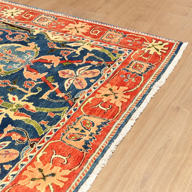 Hand-Knotted Antique Azeri Arts & Crafts Turkey Hand Knotted Large Rug, 1980 For Sale