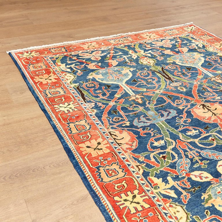 Late 20th Century Antique Azeri Arts & Crafts Turkey Hand Knotted Large Rug, 1980 For Sale