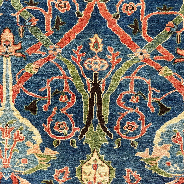 Wool Antique Azeri Arts & Crafts Turkey Hand Knotted Large Rug, 1980 For Sale