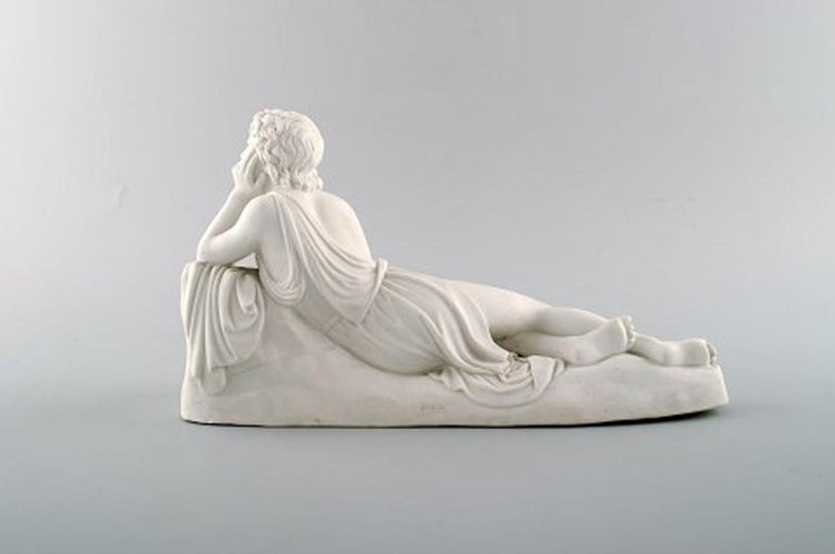 Neoclassical Antique B & G / Bing & Grondahl after Thorvaldsen, Lying Youth, Biscuit Figure For Sale