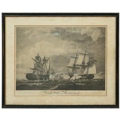 Antique B. Tanner Seascape Etching, War of 1812 Macedonia Battleship