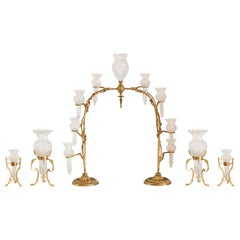 Antique Baccarat Cut Crystal and Brass Epergne