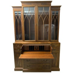 Antique Baker Glass and Walnut Breakfront and Secretaire, Slim Profile