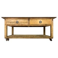 Antique Baker's Table with Hardwood Top Vintage Industrial Workbench Worktable