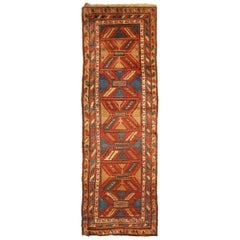 Antique Bakhshaish Red and Blue Geometric Wool Persian Runner with Bronze