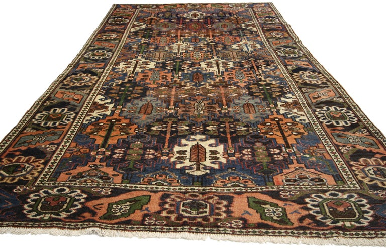 Modern Antique Bakhtiari Area Rug with Four Seasons Garden Design, Persian Gallery Rug For Sale