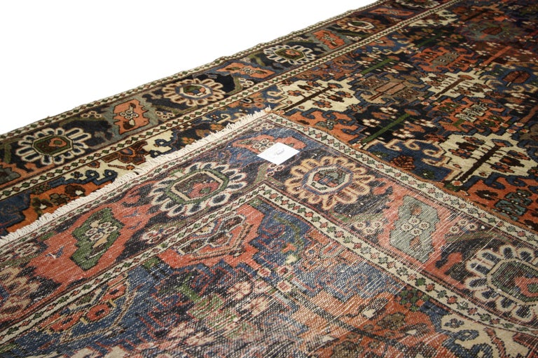 Antique Bakhtiari Area Rug with Four Seasons Garden Design, Persian Gallery Rug In Good Condition For Sale In Dallas, TX