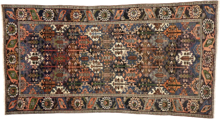 20th Century Antique Bakhtiari Area Rug with Four Seasons Garden Design, Persian Gallery Rug For Sale