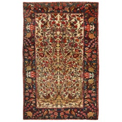 Antique Bakhtiari Traditional Yellow and Green Wool Rug