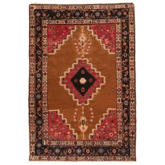 Antique Bakhtiari Transitional Red and Copper Brown Wool Rug