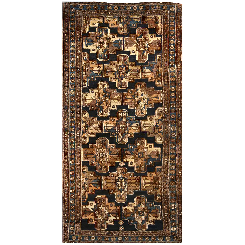 Antique Bakshaish Transitional Blue and Beige Wool Persian Rug