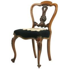 Antique Balloon Back Chair, Hall Chair, Carved Walnut Chair, Scotland, 1870