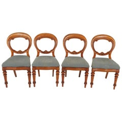 Antique Balloon Back Dining Chairs, Birch, Set of 4, Scotland 1880, B2475