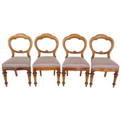 Antique Balloon Back Dining Chairs, Mahogany, Set of 4, Scotland 1880, B2500