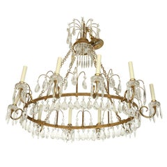 Antique Baltic Gilt Metal and Crystal Ten-Arm Chandelier