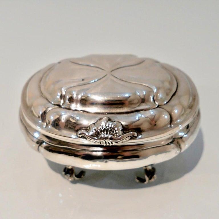 Rococo Antique Baltic Silver Oval Sugar Box Reval circa 1750 'maker AOB?' For Sale