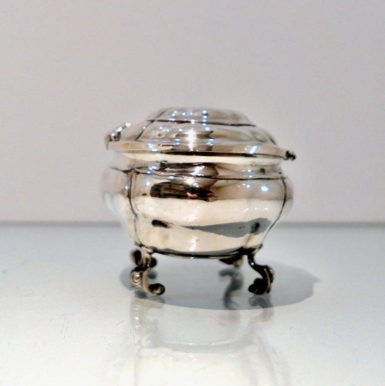 Estonian Antique Baltic Silver Oval Sugar Box Reval circa 1750 'maker AOB?' For Sale