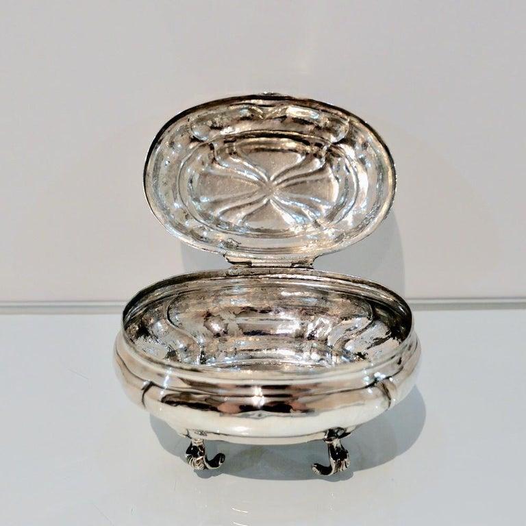 Antique Baltic Silver Oval Sugar Box Reval circa 1750 'maker AOB?' For Sale 1