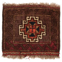 Antique Baluch Brown and Pink Wool Persian Rug