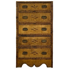 Antique Bamboo and Fiber Trimmed and Covered Pine Chest of Drawers