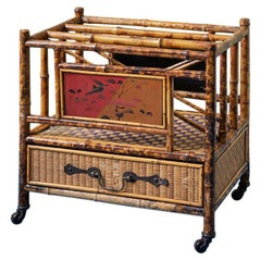 Antique Bamboo and Rattan Magazine Rack with Chinoiserie, England, 1890's