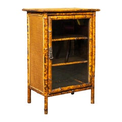 Antique Bamboo Cabinet, Victorian, Oriental, Bedside, Rattan, Glazed, circa 1900