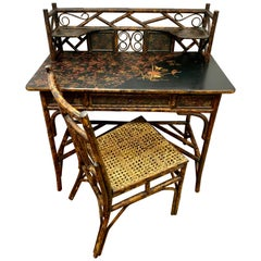 Antique Bamboo Chinoiserie Writing Desk and Matching Chair Set