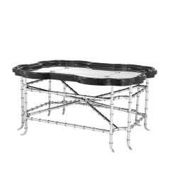 Antique Bamboo Coffee Table in Polished Stainless Steel