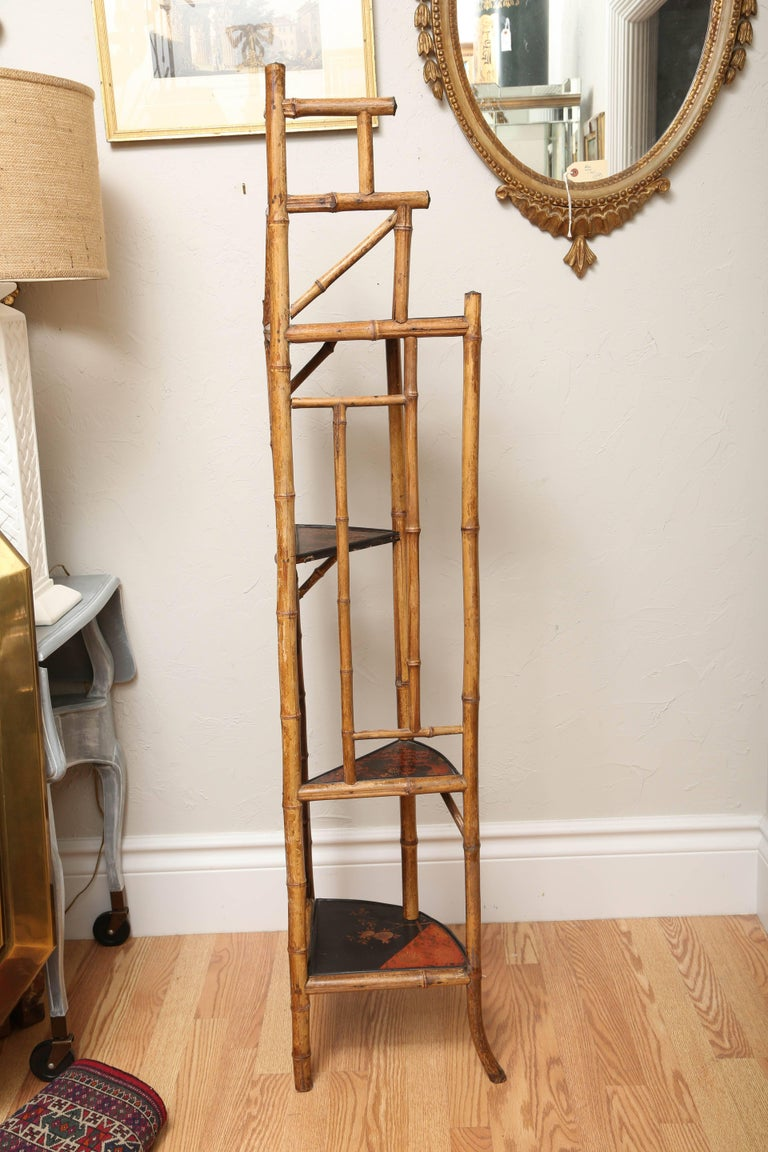 Antique Bamboo Corner Cabinet For Sale 1