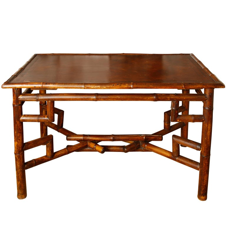 Antique Bamboo Desk with Embossed Leather Surface For Sale - Antique Bamboo Desk With Embossed Leather Surface At 1stdibs