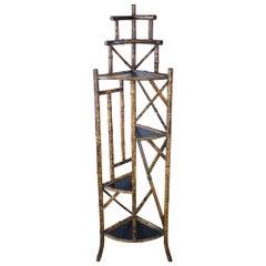 Antique Bamboo Étagère or Plant Stand