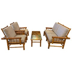 Antique Bamboo Seating Set, with Loveseat, Chairs and Table, France, circa 1900